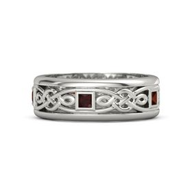 Men's 14K White Gold Ring with Red Garnet