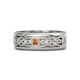Men's 14K White Gold Ring with Citrine