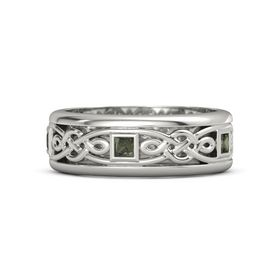 Men's 14K White Gold Ring with Green Tourmaline