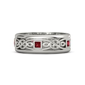 Men's 14K White Gold Ring with Ruby