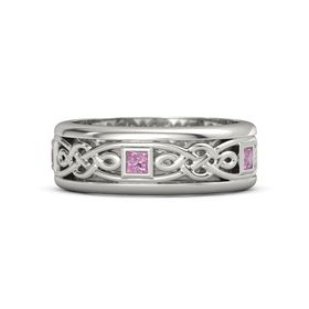 Men's 14K White Gold Ring with Pink Tourmaline
