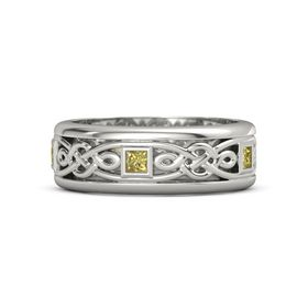 Men's 14K White Gold Ring with Yellow Sapphire