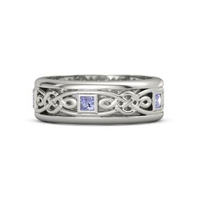 Men's 14K White Gold Ring with Tanzanite