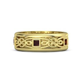 Men's 14K Yellow Gold Ring with Red Garnet