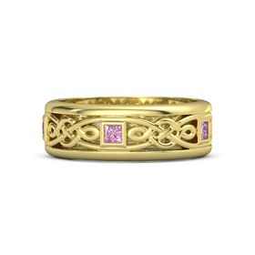 Men's 14K Yellow Gold Ring with Pink Sapphire