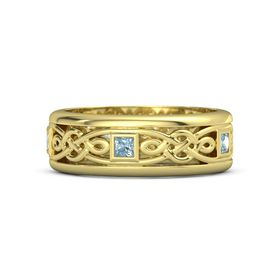 Men's 14K Yellow Gold Ring with Aquamarine