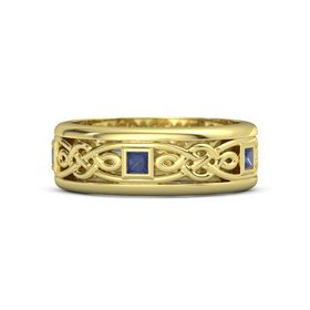 Men's 14K Yellow Gold Ring with Sapphire