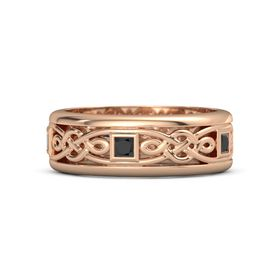 Men's 18K Rose Gold Ring with Black Diamond