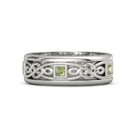Men's 18K White Gold Ring with Peridot