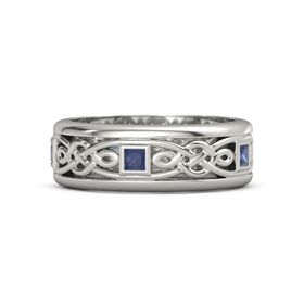 Men's 18K White Gold Ring with Sapphire