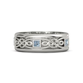 Men's 18K White Gold Ring with Blue Topaz