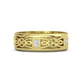 Men's 18K Yellow Gold Ring with White Sapphire