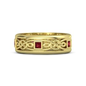 Men's 18K Yellow Gold Ring with Ruby