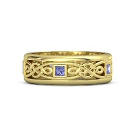 Men's 18K Yellow Gold Ring with Iolite