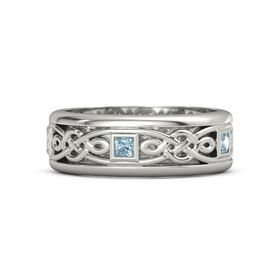 Men's Platinum Ring with Aquamarine