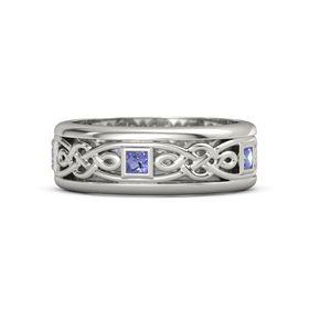 Men's Platinum Ring with Iolite