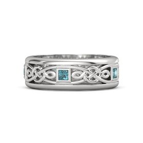 Men's Sterling Silver Ring with London Blue Topaz