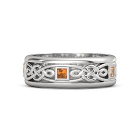 Men's Sterling Silver Ring with Citrine