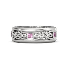 Men's Sterling Silver Ring with Pink Sapphire