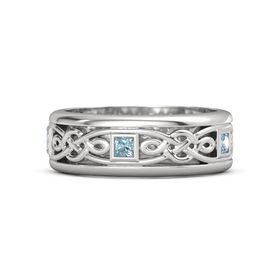 Men's Sterling Silver Ring with Aquamarine