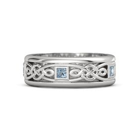 Men's Sterling Silver Ring with Blue Topaz