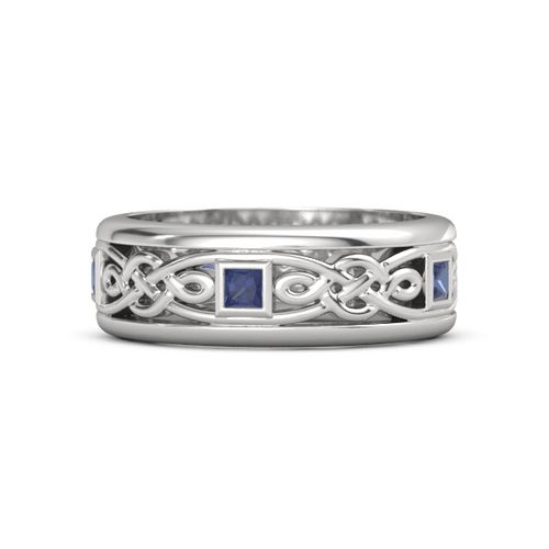 Sterling Silver Ring With Blue Sapphire Alhambra Knot Band Gemvara