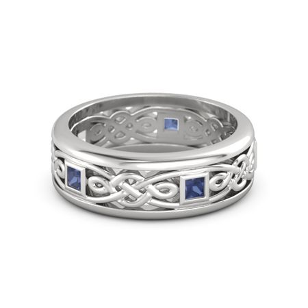Men S Sterling Silver Ring With Sapphire Alhambra Knot