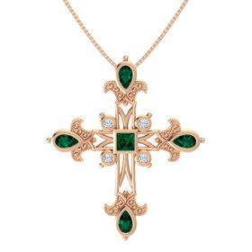 Princess Emerald 14K Rose Gold Pendant with Emerald and Diamond