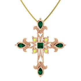 Princess Emerald 14K Rose Gold Pendant with Emerald and Peridot