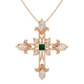 Princess Emerald 14K Rose Gold Pendant with White Sapphire and Diamond