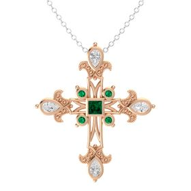 Princess Emerald 14K Rose Gold Pendant with White Sapphire and Emerald