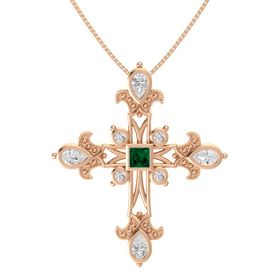 Princess Emerald 14K Rose Gold Pendant with White Sapphire