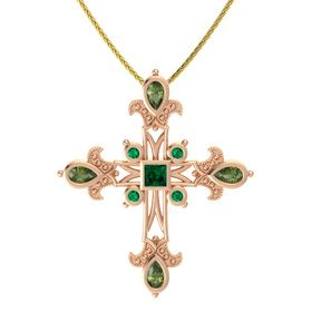 Princess Emerald 14K Rose Gold Pendant with Green Tourmaline and Emerald