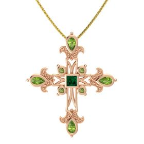 Princess Emerald 14K Rose Gold Pendant with Peridot and Green Tourmaline