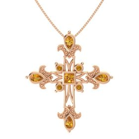 Princess Citrine 14K Rose Gold Pendant with Citrine