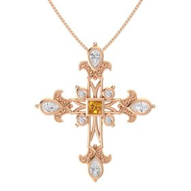 Princess Citrine 14K Rose Gold Pendant with White Sapphire