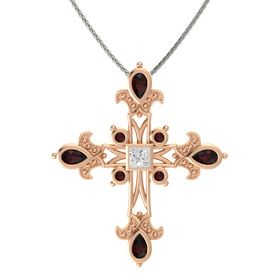 Princess White Sapphire 14K Rose Gold Pendant with Red Garnet