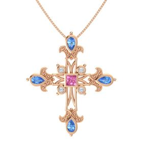 Princess Pink Sapphire 14K Rose Gold Pendant with Blue Topaz and Diamond