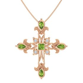 Princess Peridot 14K Rose Gold Pendant with Peridot and Diamond