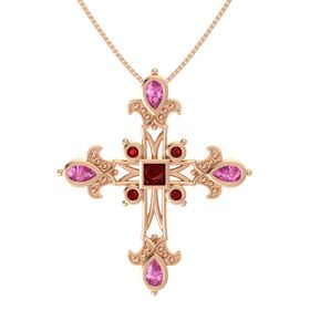 Princess Ruby 14K Rose Gold Pendant with Pink Sapphire and Ruby