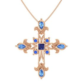 Princess Sapphire 14K Rose Gold Necklace with Blue Topaz & Sapphire
