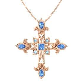 Princess Blue Topaz 14K Rose Gold Pendant with Blue Topaz