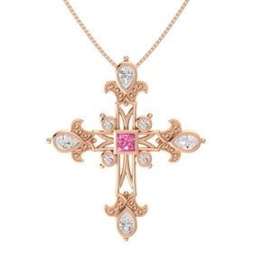 Princess Pink Tourmaline 14K Rose Gold Pendant with White Sapphire