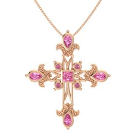 Princess Pink Tourmaline 14K Rose Gold Pendant with Pink Tourmaline