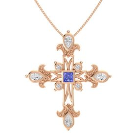 Princess Tanzanite 14K Rose Gold Pendant with White Sapphire