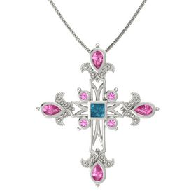 Princess London Blue Topaz 14K White Gold Pendant with Pink Sapphire