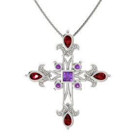 Princess Amethyst 14K White Gold Necklace with Ruby & Amethyst