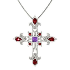 Princess Amethyst 14K White Gold Pendant with Ruby
