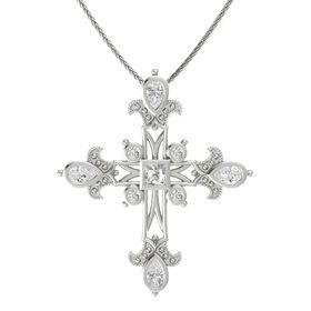 Princess Rock Crystal 14K White Gold Pendant with White Sapphire