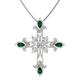 Princess Diamond 14K White Gold Necklace with Emerald & White Sapphire